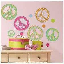 GLITTER PEACE SIGNS wall stickers 26 Colorful decals Sparkle Groovy scrapbook