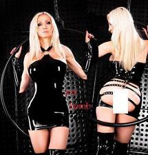 SEXY abito vestito nero aperture cinghiette taglia unica s/m fetish GLAMOUR