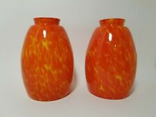 """2 Vintage 1970's Orange Yellow Speckled Lamp Light Shade 6 1/2 x 2"""" opening"""