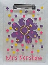 Personalised Teacher Teaching Assistant Cutout Flower Clipboard