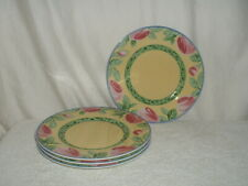 """4 Villeroy & Boch Switch Summerhouse Collection A ROSE 8 1/2"""" Salad Plates"""