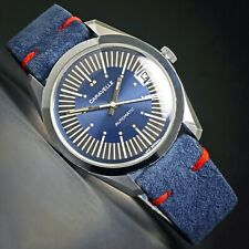 Rare 1974 Caravelle Large Automatic Blue Dial Stainless Steel Watch