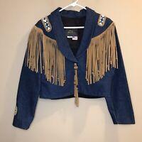 Amigo's Made In USA Denim Jean Jacket Fringe Beaded Boho Women's Size Medium M