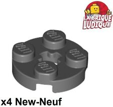 Lego - 4x Plate Round plaque ronde axle hole 2x2 gris f/dark bl. gray 4032 NEUF