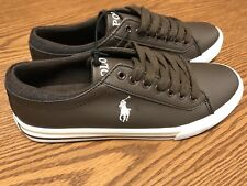 Ralph Lauren Polo Youth Boys Harrison Brown White Leather Shoes Sneakers Sz 3.5