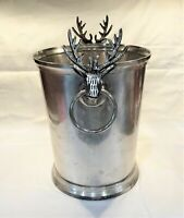 VTG Silver Plate STAG Head Antlers Champagne Wine Cooler Ice Bucket Planter Vase