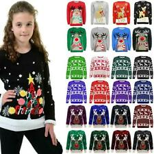 Boys Girls Christmas Jumper Novelty Knitted Pom Pom Xmas Sweater Kids Pullover