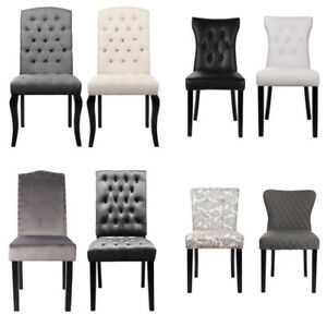 High Back Leather/Velvet/Linen Dining Chair Button Knocker Option Kitchen Chairs