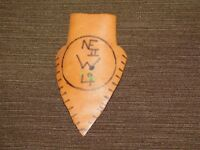 VINTAGE BSA BOY SCOUTS OF AMERICA PATCH LEATHER NECKERCHIEF SLIDE SCOUT MADE