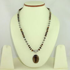 Pendant necklace natural tiger eye gemstone semi precious stone beads jewelry