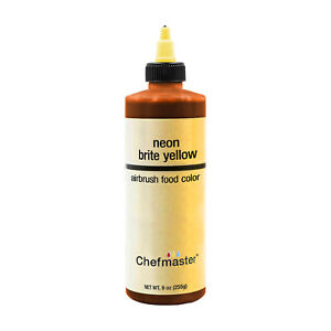 Chefmaster 9-Ounce Neon Brite Yellow Airbrush Cake Decorating Food Color