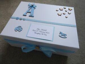 Extra Large Personalised memory Box Baby Keepsake Box pink car wooden letter  **