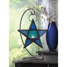 "SAPPHIRE STAR TABLE LANTERN - 13 3/4"" HIGH - IRON & GLASS - BLACK"