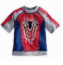 Disney Store Amazing Spider Man Rashguard Shirt Size 4 Boys Super Hero Gift NEW