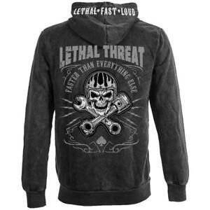 Lethal Threat Faster Skull Washed Motorcycle Biker Hoodie Sweatshirt HD84037