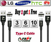 Braided USB C Type-C Fast Charging Data SYNC Charger Cable Cord 3/6/10FT LONG us