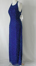 New Scala Evening Dress Maxi-Halter Beading/Sequin Bra Silk  Size XL(US L)