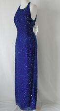 New Scala Formal Dress Maxi-Halter Beading/Sequin Bra Silk Blue/Purple Size XL
