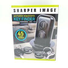 SHARPER IMAGE KEYFINDER w/ 2 KEYFOBS BLACK 45ft Range Portable Electronic