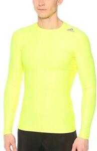 adidas TechFit Chill Mens Compression Top Yellow Long Sleeve Baselayer UPF 50+