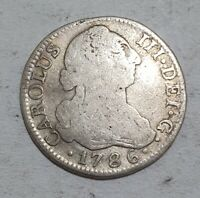 MADRID 1786 2 REALES SILVER COIN SPANISH COLONIAL 5.72g EXTRA RARE COIN CARLOS
