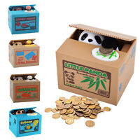 Novelty Panda Stealing Coin Money Cat Panda Penny Cents Piggy Bank Saving Box UK