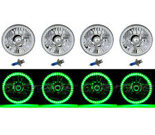 5-3/4 Green SMD LED Halo Headlight Angel Eye Halogen H4 Light Bulb Headlamp Set