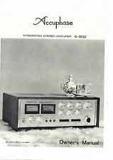 Accuphase Manuel d'Utilisation User Manual Owners Manual pour e-202 anglais