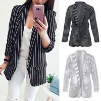Womens Long Sleeve Casual Slim Striped Suit Blazer Coat Jacket Outwear Cardigan