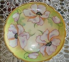 """ANTIQUE LIMOGES OLD ABBEY HAND PAINTED SIGNED PLATE PURPLE  POPPIES & GOLD, 9"""""""