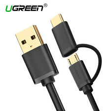 Ugreen 2 in 1 USB C Type C Micro USB Fast Charging Cable for Samsung S8 S7 S6 LG