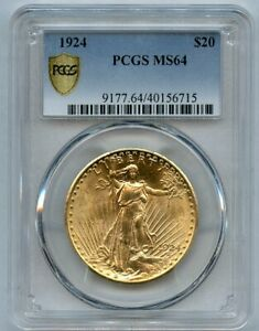 1924 $20 Twenty Dollar Saint Gaudens Double Eagle Gold Coin PCGS MS 64
