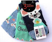 3 Paar Mäuse Damen Socken Strümpfe Maus Mäuschen Käse Lustig Bunt 37-42 Primark