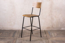 VINTAGE STYLE TALL BAR STOOL STEEL AND PLYWOOD RESTAURANT SEATING LARGE QUANTITY