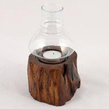Windlicht mit Glas Teakholz Hog 10 Cm
