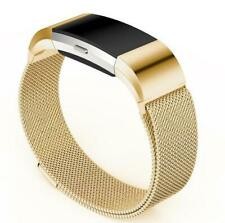 Stainless Steel Milanese Magnetic Loop Watchband for Charge 2 Fitbit Lg - Gold