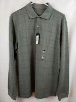 NWT Men's Van Heusen LS Jaspe Windowpane Textured Knit Polo Shirt Medium