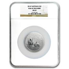 2011 Australia 5 oz Silver Year of the Rabbit MS-69 NGC - SKU #96689