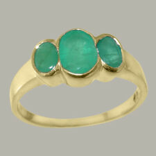 Solid 9k Yellow Gold Natural Emerald Womens Trilogy Ring - Sizes J to Z