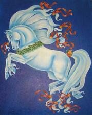 CHRISTMAS ARABIAN HORSE FRUIT ORANGES HOLLY LEAVES JINGLE BELLS BLUE PAINTING