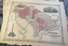 Georgetown City of Washington Map 1860's Johnsons  Atlas Steel Engraving