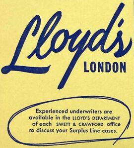 Vintage 1950s Swett & Crawford Lloyd's London Underwriter Correspondent Blotter