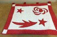 Appliqué Quilt Wall Hanging, Red & White, Stars, Scrolls, Hand Quilted