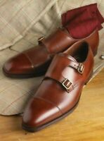 Handmade Men's Brown Leather Double Monkstrap Shoes