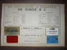 Gran Anuncio Original 19e Charentes Enólogos Dubois Fouchez Bouyer