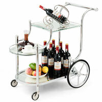 Serving Cart Kitchen Bar Wine Tea Cart Glass Shelves & Metal Frame with Wheels
