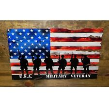 MILITARY VETERAN US FLAG MADE OF STEEL FULL 24″x14.5″ MARINE NAVY ARMY AIR FORCE