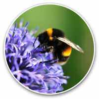 2 x Vinyl Stickers 10cm - Bee at Purple Flowers Bees Cool Gift #3091