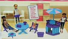 12 pieces Grill & Patio Set Garden Furniture Toy for Dolls Ages 3+ Purple/Teal