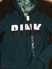 Nwt Xs VICTORIAs SECRET PINK Teal Perfect ZIP HOODIE Logo Jacket Tropical Palm